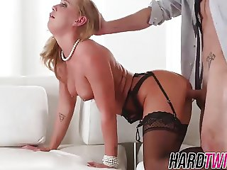 Gorgeous blonde beauty Carter Cruise riding a big hard cock