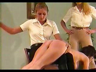 2 dommes spank & strap busty girl (Part 2)