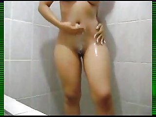 Recording her incredible body in the shower