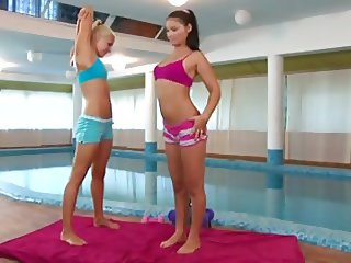 Lesbian sex by the pool