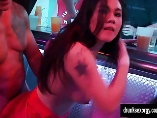Horny pornstars fuck in club