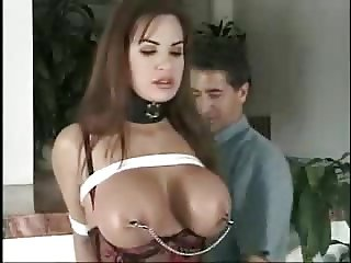 Big Tits girl with older man BDSM who is she?