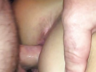 Doggy style upclose creampie