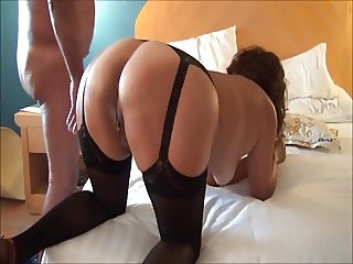 Red heels and doggy style fuck in black stockings