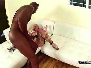 Black Monster Cock Fucks Blonde MILF Mom