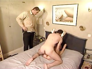 MMF old slut takes two