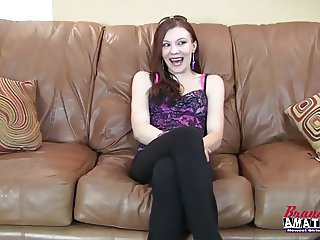Pretty amateur girl sucks a cock on casting couch