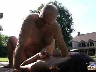 Young petite girl swallows old cum after grandpa cock ride