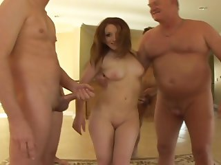 Young Girl Dirty Old Men Jeking on Her