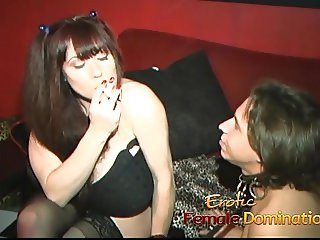 Raunchy busty bitch has her cunt licked while giving a