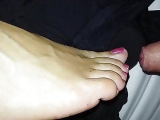 big cumshot on the feet of my wife