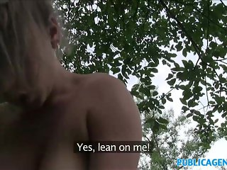 PublicAgent Big tits student sucks and fucks for cash in the forest