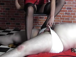 Milf foot wanks sissy in girly white panties before cumshot