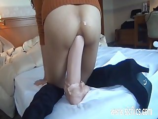 Fucking Asian girls greedy ass with giant dildos