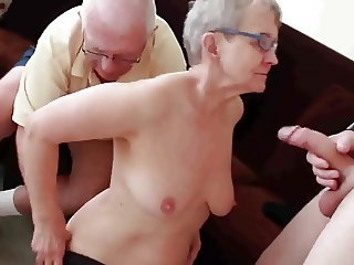 Granny & Husband Invite a Young Stud to Fuck Her