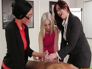 Three girls are lotion testing