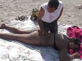 NRI Women Nipple Slip While Get Massage By Old Man On Beach
