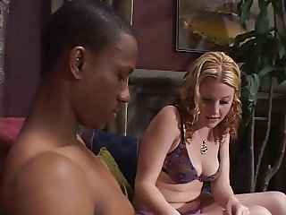 Teen blonde gets her mouth stuffed with black cock