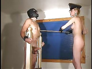 Skinny sexy blonde mistress whips and tortures slave