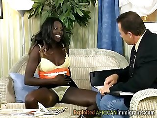 African hottie seduces white businessman