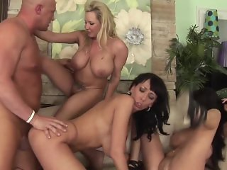 Fourway with three big tit MILFs