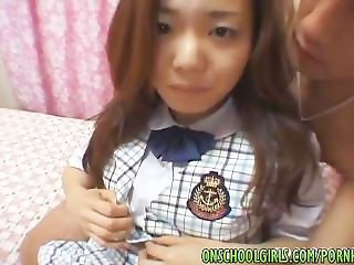 Japanese schoolgirl fingers wet pussy in close up before a harsh banging