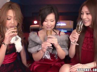 Three Japanese Babes Fucked in Christmas Orgy (Uncensored JAV)