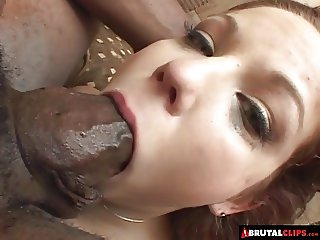 BrutalClips -  Baby-faced slut drains three huge black cocks