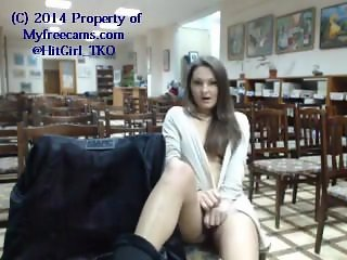 Library girl flashing on webcam