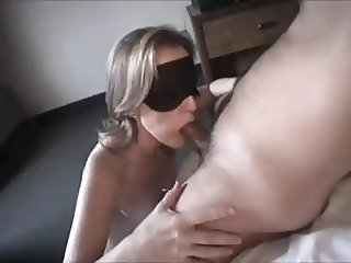 some guys wife sucking cock blindfolded