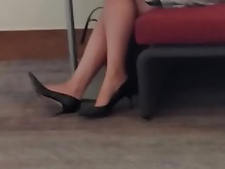Quick Candid Blonde Tired Feet