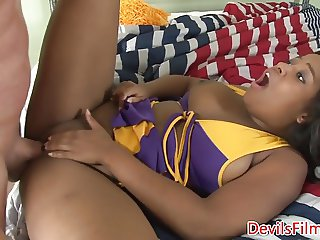 Ebony cheerleader pounded by stepdad