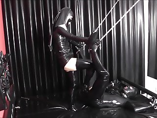 Pervert Latex Nun foot fisting bound slave