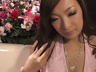 Japanese beauty gets cream pie after riding stud's pole