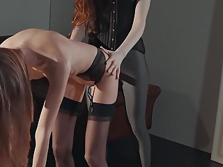 SET IT OFF -  strap-on glam lesbians lick and fuck