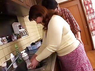 BBW Japanese Mama Groped and Fingered In Kitchen