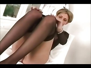 Short haired french girl with Dildo