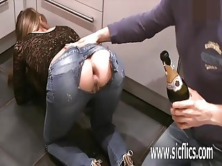 Brutally fisting his girlfriends gaping ass