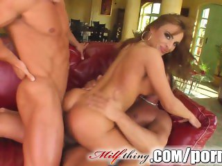 Brunette milf takes a dick in every hole