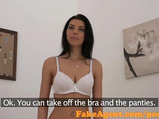 FakeAgent Hot raven haired amateur sucks and fucks in office