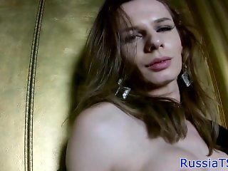 Solo russian trans jerking her hard cock