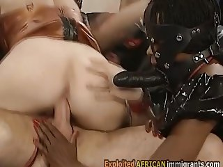 Beautiful ebony immigrant is disgraced