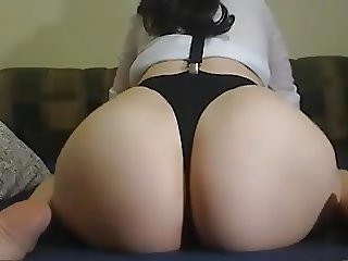 sexy brunette pale body and big roung ass butt