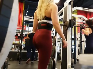 Candid hot blonde red leggings!!2