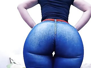 Huge Round Ass Tiny Waist Jeans About to Explode