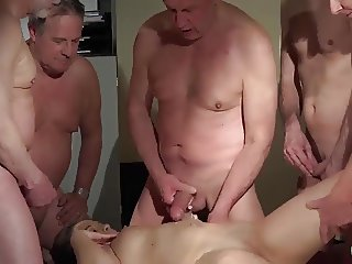 OLD YOUNG Babe Gangbang with grandpas she gets Double fucked