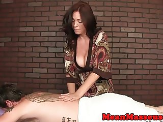 Bigboobs milf masseuse ruining clients orgasm