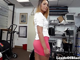Inked casting babe rides interracial cock POV