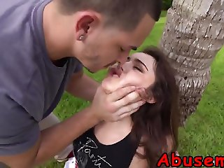 Teen slut getting tied to a tree and fucked very rough