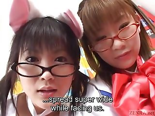 Subtitled Japanese cosplay virtual masturbation support